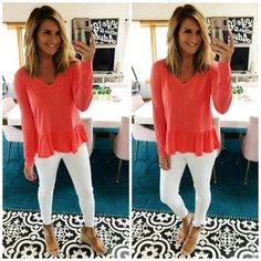 Fashion Look Featuring Caslon Petite Tops and Skinny Denim by Livinginyellow - ShopStyle Wedge Sandals Outfit, Wedges Outfit, Strap Sandals, Best White Jeans, White Jeans Outfit, White Pants, White Shorts, Coral Shirt Outfits, Coral Top Outfit