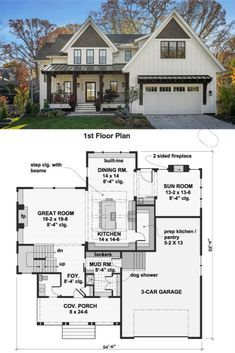 Feb 2020 - This three-bedroom farmhouse house plan would be a nice addition to any neighborhood. The thoughtful layout makes this home plan perfect for a family. A fireplace warms the great room, which hosts any gathering in style and comfort. House Layout Plans, Family House Plans, Cottage House Plans, Country House Plans, New House Plans, Dream House Plans, Small House Plans, House Layouts, Cottage Homes