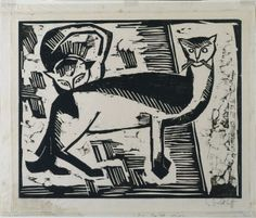 Two Cats | woodcut, 1915 | Karl Schmidt-Rottluff ----- Cleveland Museum of Art