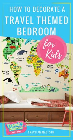 How to Decorate a Travel Themed Bedroom for Kids. This DIY travel bedroom theme will inspire your child for a life of world travel. Our plan includes decorations, wall decor, and more! Bedroom Themes, Kids Bedroom, Bedroom Ideas, Bedroom Decor, Wall Decor, Bedroom Wall, Bedrooms, Bora Bora, Travelers Notebook