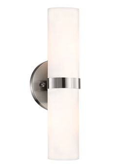 698012 – Single Lamp Wall Sconce with Long Cylinder White Opal Glass