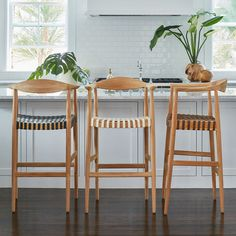 Teak and Woven Leather Bar Stool - Black - Wisteria. But will not pay this much, just no. Woven Bar Stools, Counter Stools With Backs, Wicker Bar Stools, Oak Bar Stools, Leather Counter Stools, Kitchen Stools, Bar Chairs, Bar Counter, Brown Leather Bar Stools