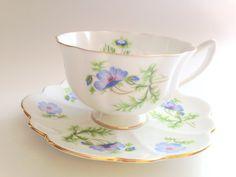 Bleu pavot Shelley tasse et soucoupe, tasses de porcelaine anglaise, ensemble de thé, tasses à thé anciennes, Vintage de tasses de thé, Shelley tasses, tasses bleus