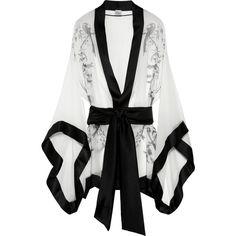 Carine Gilson Paradise printed silk-mousseline kimono ($1,280) ❤ liked on Polyvore
