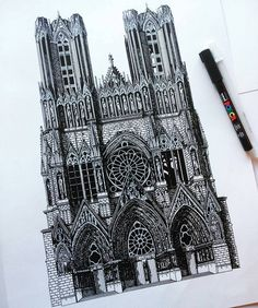 Here's a great #penandink #architecture #illustration by Helene Lacombe…