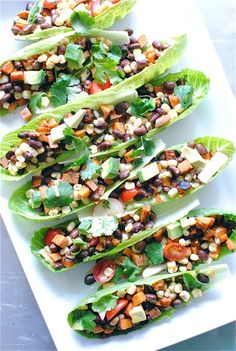 Vegetarian Mexican Salad Boats~ skipped the avacado and radishes. Very good, hard to eat as a boat prefer as salad Mexican Salads, Vegetarian Mexican, Mexican Food Recipes, Whole Food Recipes, Vegetarian Recipes, Cooking Recipes, Healthy Recipes, Vegetarian Salad, Chef Recipes