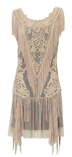Lace fringed flapper dress