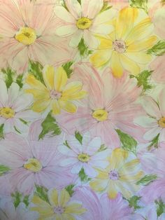 Cannon Twin Flat Flower Sheet Pink Yellow Top Cotton Polyester Blend Royal  #CannonRoyalFamily #CottageShabbyChic