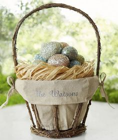 Our twig basket is a natural choice for showcasing spring's treasures. Fill it with anything from Easter eggs to colorful dried botanicals – and add a name to the liner to give as a unique gift to a host. Hoppy Easter, Easter Eggs, Easter Crafts For Kids, Easter Ideas, Easter Decor, Linen Baskets, Vase Fillers, Centerpiece Decorations, Outdoor Decorations