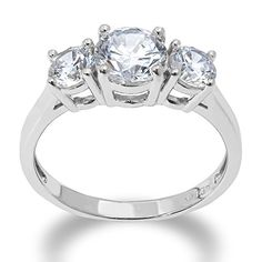 IOKA JEWELRY   1 Ct. Center Stone 3 Round Tri Stone Cubic Zirconia CZ Engagement Ring. Elegant for everyday wear too! Solid 14K Gold Setting that you can place real diamonds in if wanted.