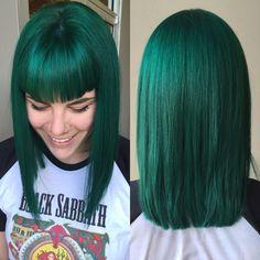 Emerald green hair by me ( Jamie and Scissortale in okc, ok ) #pravana #blondor…