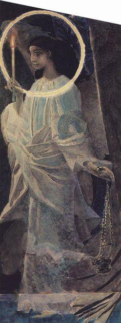 Михаил Врубель » Живопись, картины, фото художника » Ангел с кадилом и свечой. 1887