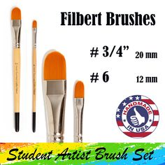 There are two filbert paintbrushes in Hand Touched Crafts Student Artist Brush Set. A ¾-inch – 20 mm paintbrush and a - 12 mm paintbrush Cruelty Free Brushes, Artist Brush, Stippling, Amazon Art, Sewing Stores, Paint Brushes, Brush Strokes, Brush Set, Sewing Crafts