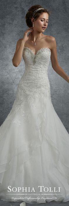 Sophia Tolli Perseus - Organza A-line wedding dress with beaded appliqués. Country Wedding Dresses, New Wedding Dresses, Bridal Dresses, Bridesmaid Dresses, Sophia Tolli, Mod Wedding, Trendy Wedding, Dream Wedding, Wedding White