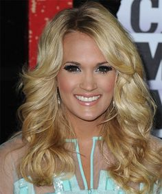 Carrie Underwood - Formal Long Wavy Hairstyle. Click on image to try on this hairstyle and view styling steps!