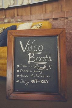 A video booth – awesome idea! This cute wedding sign is perfect to use with the … A video booth – awesome idea! This cute wedding sign is perfect to use with the WeddingMix: DIY Wedding Video app to get a fun, affordable wedding video. Before Wedding, Wedding Tips, Wedding Engagement, Fall Wedding, Diy Wedding, Wedding Planning, Dream Wedding, Trendy Wedding, Wedding Favors