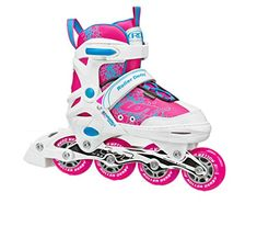 Girls White and Pink Ion Children Adjustable Inline Skates with Aluminum Frame ** For more information, visit image link. (Amazon affiliate link)