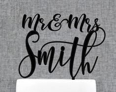 Mr and Mrs Cake Topper, Calligraphy Cake Topper, Last Name Cake Topper, Wedding Cake Topper, Cake Topper for Wedding, Cake Topper (T368) by chicagofactory. Explore more products on http://chicagofactory.etsy.com