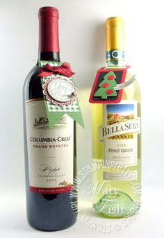Stampin up wine bottle topper tag punch holiday idea
