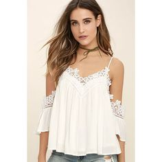 Daily Devotion White Lace Off-the-Shoulder Top ($48) ❤ liked on Polyvore featuring tops, white, lace top, white lace top, white crop top, off the shoulder tops and off shoulder lace top