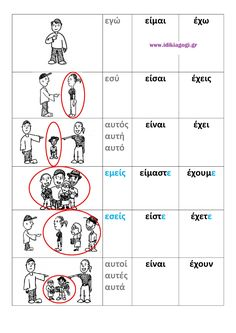 Τα ρήματα ΕΙΜΑΙ & ΕΧΩ στον ΕΝΕΣΤΩΤΑ Greek Language, Speech And Language, First Grade Activities, Book Activities, School Lessons, Lessons For Kids, Learn Greek, Teaching Methods, Greek Words