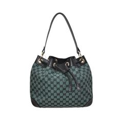 b3f8b8cf6eb5dc Gucci Black & Green Canvas Leather Trimmed Logo Accents Bucket Bag -  Listing price: $850.00 Now: $399.99 #guccibagspricelist