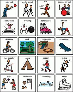 Visuals Gallery – Geneva Centre for Autism Physical Activities For Kids, Autism Activities, Autism Resources, Images Pecs, Pecs Pictures, Pecs Communication, Picture Exchange Communication System, Visual Schedule Autism, Social Stories