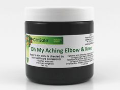 """Oh My Aching Elbow & Knee - One of our newest additions to the """"Oh My Aching"""" line of glutathione balms, our Elbow and Knee formulation incorporates nano-technology (to increase absorption) along with the finest ingredients prepared in an exceptional manner (Secundum Artem) for outstanding relief from elbow and knee pain."""