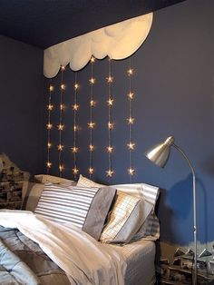 Cloud and fairy lights feature wall