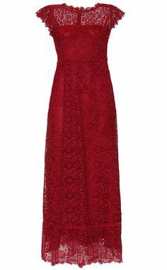 Vestido largo rojo de encaje de VALENTINO para mytheresa.com