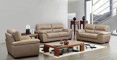 Domano - Modern Sofa Set in Beige Italian Leather