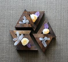 Miniature Crystal Garden - Amethyst Point, Citrine Point and Lemurian Seed Crystal Points