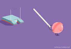 Le graphiste tunisien Ta7richa a voulu partager avec nous ses illustrations humoristiques mettant en scène des objets et des éléments du quotidien se retrouvant dans des situations absurdes. À travers ces petites représentations colorés, l'artiste donne la parole aux petites choses de la vie et révèle leurs émotions.