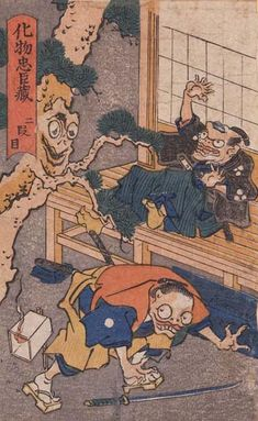 "Act 2 from ""Bakemono Chushingura"" series, ca. 1839-1842 by Utagawa Kuniyoshi || This series portrays monsters enacting the play ""Kanadehon Chushingura"", a classic story about 47 Ronin"