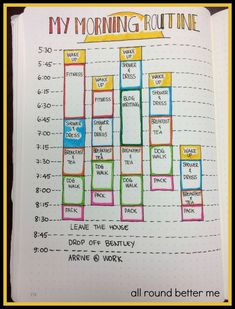 A New Morning Routine Bullet Journal - My Morning Routine<br> On Tuesday, I posted about my personal goals for Goal was to complete a monthly focus. For January, I have chosen my mornings. I think I've mentioned before that my old morning rou… Diy Organisation, Planner Organization, Organising, Journal Layout, Journal Pages, Journal Ideas, Bujo, Journaling, Bullet Journel