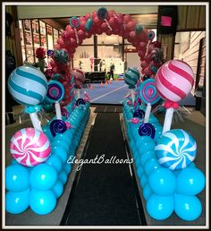 67 New Ideas For Birthday Balloons Decorations Candy Land Candy Theme Birthday Party, Candy Land Theme, Birthday Balloon Decorations, Candy Party, Birthday Balloons, Birthday Parties, Candy Theme Decorations, Deco Ballon, Candyland