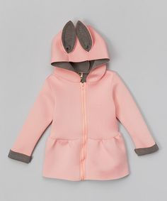Pink & Gray Hooded Peplum Jacket - Infant, Toddler & Girls