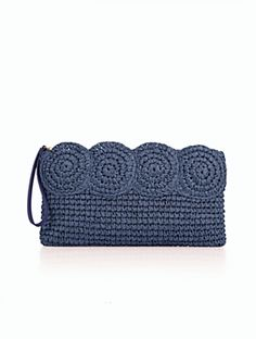 Crochet Bags Ideas This navy straw clutch is a summer party essential. Crochet Clutch Bags, Crochet Pouch, Crochet Handbags, Crochet Purses, Knit Crochet, Crochet Crafts, Crochet Projects, My Style Bags, Best Leather Wallet