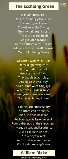 The Echoing Green Poem by William Blake - Trend Hozier Quotes 2019 William Blake Poems, Morning Poem, Cycle Of Life, Old Folks, Men With Grey Hair, Make Happy, Simple Words, Beautiful Morning, White Hair