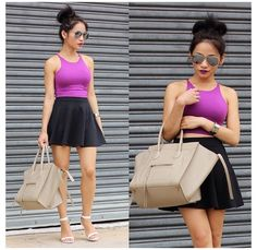 In love w/ this. First summer outfit I'm going to add to my wardrobe. Black flirty skirt, tight bodycon cropped tank and some strappy heels. Avaitors (need new ones) and hair up in high messy bun