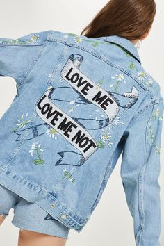 'Love Me Not' Embroidered Denim Jacket - Jackets & Coats - Clothing - Topshop USA