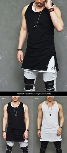 Double Star Embroidery Extended Long Tank-Tank 51 - GUYLOOK