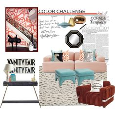 Coral and turquoise doesn't always have to be so coral and turquoise.  Outside the lines by simonehowell on Polyvore featuring interior, interiors, interior design, home, home decor, interior decorating, Muuto, Tom Dixon, LZF and Safavieh