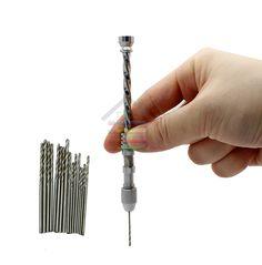 Mango Pin Vise Semi-Automática Espiral Taladro de Mano Arte de La Joyería de Diapositivas para el Plástico de Madera de Perforación Agujero 16 unid Twist Bits 0.8-1.5mm