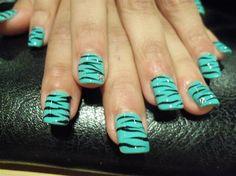 Aqua and black zebra nails - Cute pedicure colors