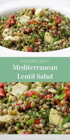 Lentil Salad Recipes, Winter Salad Recipes, Vegetarian Salad Recipes, Vegetarian Lunch, Healthy Salad Recipes, Real Food Recipes, Delicious Recipes, Nutritious Meals, Healthy Meals