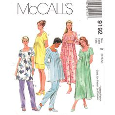 Maternity Pattern McCalls 9192 Square Neck Dress or Top, Adjustable Pants, Skirt Size 8 10 12 UNCUT