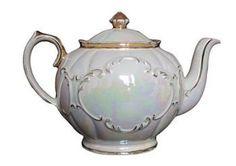 Vintage Creamy Lustre Teapot by The Vintage Tea Cup by margie