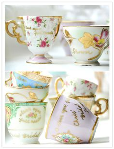 """Wedding details/favors.    """" she and the rest of the bridesmaids planned an afternoon tea party at a cute restaurant in the west village, which turned out to be exceptional inspiration for the invitation. bryn wrote a bunch of different messages, including a quote christina is using in her invitations, on the vintage tea cups using gold pen. and mimi also included tea bags with little handmade tea tags in each guest gift.""""    via 100layercake.com"""