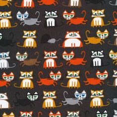 Organic Brown Cat Fabric  Happy Drawing Too by by CreateByTheYard, $12.50